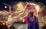 1girl :d bangs blue_eyes blue_kimono blush building city_lights cityscape commentary eiffel_tower eyebrows_visible_through_hair fate/apocrypha fate_(series) fireworks floral_print flower full_moon hair_flower hair_ornament hands_together highres japanese_clothes junpaku_karen kimono long_hair long_sleeves looking_at_viewer marie_antoinette_(fate/grand_order) moon night night_sky obi open_mouth river sash silver_hair sky smile solo twintails v very_long_hair water wide_sleeves