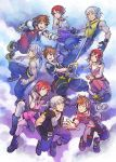 1girl 2boys age_progression blue_eyes brown_hair frown highres holding holding_weapon hood jewelry kairi_(kingdom_hearts) keyblade kingdom_hearts kingdom_hearts_i kingdom_hearts_ii kingdom_hearts_iii looking_at_another miyuli multiple_boys necklace open_mouth outstretched_arm redhead riku short_hair silver_hair sleeveless smile sora_(kingdom_hearts) spiky_hair tank_top v-neck weapon