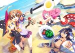 4girls ahoge beach bikini blonde_hair blue_eyes brown_hair charm_(yuusha_mushoku) dark_skin food fruit gloves hair_ornament hairclip harada_takehito hat long_hair mahiro_(yuusha_mushoku) mail_(yuusha_mushoku) mona_(yuusha_mushoku) multiple_girls mushroom pink_hair pointy_ears school_uniform short_hair skirt swimsuit sword tentacle watermelon weapon witch_hat yuusha_mushoku