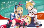 3girls ;d all_fours android arm_support azure_striker_gunvolt bandaid blaster_master_zero blonde_hair blue_eyes butterfly_hair_ornament call_(mighty_no._9) commentary english english_commentary eve_(blaster_master_zero) green_eyes grey_eyes hair_ornament hand_on_another's_head highres inti_creates long_hair looking_up lumen_(gunvolt) lying mighty_gunvolt mighty_gunvolt_burst mighty_no._9 multiple_girls natsume_yuji official_art on_side one_eye_closed open_mouth ponytail smile