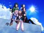 6+girls ^_^ ^o^ arms_up ashido_mina asui_tsuyu black_hair blue_hair blue_sky blush_stickers bodysuit boku_no_hero_academia boots breasts brown_hair center_frills closed_eyes clouds coat day fur_trim gloves hagakure_tooru half-closed_eyes happy highres horns invisible jirou_kyouka masuku_0708 multiple_girls open_mouth pants pink_hair sitting sky smile sun sunlight sweatdrop uraraka_ochako yaoyorozu_momo