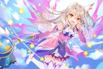 1girl :d blonde_hair blue_sky boots clouds commentary_request detached_sleeves dress earrings energy_wings eyebrows_visible_through_hair fate/kaleid_liner_prisma_illya fate/stay_night fate_(series) flying hair_between_eyes hair_ornament illyasviel_von_einzbern jewelry long_hair looking_at_viewer magical_girl multicolored multicolored_clothes multicolored_dress one_side_up open_mouth prisma_illya_(zwei_form) red_eyes rie_(reverie) sky smile solo star star_earrings thigh-highs thigh_boots v wand white_footwear