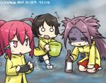 3girls bucket cellphone commentary_request dated drunk flying_sweatdrops fog gym_shorts hair_ribbon hamu_koutarou i-168_(kantai_collection) jun'you_(kantai_collection) kantai_collection long_hair meta miyuki_(kantai_collection) multiple_girls ocean phone ponytail purple_hair raincoat redhead ribbon shorts smartphone spiky_hair standing standing_on_liquid sweat walking walking_on_liquid