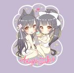 2girls :p atago_(azur_lane) azur_lane bangs bikini black_hair blush bow breasts brown_eyes character_name chibi cleavage closed_mouth commentary_request double_scoop eyebrows_visible_through_hair flower food grey_background hair_between_eyes hair_bow hair_flower hair_ornament heart high_ponytail holding holding_food ice_cream ice_cream_cone large_breasts long_hair multiple_girls parted_lips pink_flower pocopoco ponytail see-through sitting smile sparkle swimsuit takao_(azur_lane) tongue tongue_out very_long_hair white_bikini white_bow white_swimsuit