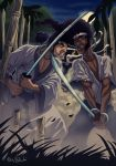 2001 2007 2boys afro afro_samurai afro_samurai_(character) black_hair dark_skin etubi92 fighting headband highres japanese_clothes katana kimono long_hair multiple_boys muscle samurai samurai_jack samurai_jack_(character) sheath short_hair sword weapon white_skin