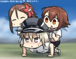 3girls :< :d ^_^ ahoge all_fours alternate_costume amagi_(kantai_collection) beamed_eighth_notes bismarck_(kantai_collection) blush brown_eyes brown_hair cable cellphone closed_eyes closed_mouth commentary_request dated earphones eighth_note exercise flying_sweatdrops grey_eyes hair_ornament half_note hamu_koutarou holding kantai_collection long_hair multiple_girls musical_note open_mouth phone ponytail push-ups quarter_note riding shiratsuyu_(kantai_collection) shirt short_hair silver_hair sketch smartphone smile sportswear sweat t-shirt v-shaped_eyebrows