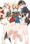 3girls ankh archon_(crusaders_quest) armor barefoot bellbottoms belt blue_gloves blush breasts candy cleavage crusaders_quest dress easy_(aqk7bdqt) feet fingerless_gloves food gloves goggles goggles_on_headwear grin guilty_gear guilty_gear_xrd hair_between_eyes hand_on_hip hand_on_thigh hands_on_hips hat helm helmet highres jack-o'_valentine jacket large_breasts lollipop long_hair looking_at_viewer medium_breasts military_hat miniskirt mouth_hold multiple_girls red_eyes short_hair side_slit silver_hair simple_background skirt smile soles spiny_(crusaders_quest) violet_eyes white_background