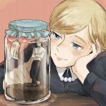 1boy 1girl blonde_hair blue_eyes blush christa_renz enko_(bbbbin) eren_yeager highres miniboy shingeki_no_kyojin smile