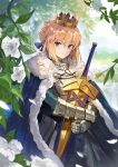 1girl ahoge andrian_gilang armor artoria_pendragon_(all) avalon_(fate/stay_night) blonde_hair blue_cape breastplate cape closed_mouth commentary_request crown day excalibur eyebrows_visible_through_hair fate/grand_order fate_(series) flower fur-trimmed_cape fur_trim gauntlets green_eyes hair_bun hair_ribbon highres holding leaf looking_at_viewer outdoors petals ribbon saber scabbard sheath shiny shiny_hair short_hair smile solo