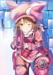 1girl ;) aiming_at_viewer animal_ears animal_hat bandanna bangs blush brown_eyes brown_hair bullpup bunny_hat closed_mouth commentary_request eyebrows_visible_through_hair gloves gun hair_between_eyes hat highres holding holding_gun holding_weapon jacket kneeling llenn_(sao) long_sleeves mutang one_eye_closed p-chan_(p-90) p90 pants pink_gloves pink_hat pink_jacket pink_pants rabbit_ears shadow smile solo submachine_gun sword_art_online sword_art_online_alternative:_gun_gale_online weapon white_bandana