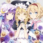 3girls alice_margatroid apron bangs black_hat black_shirt blonde_hair blue_dress blue_eyes blue_flower blue_ribbon bow braid breasts capelet commentary_request crescent crescent_hair_ornament dress eyebrows_visible_through_hair flower frilled_shirt_collar frilled_sleeves frills grey_background hair_between_eyes hair_bow hair_ornament hairband hands_up hat hat_bow hat_ribbon highres holding holding_flower kirisame_marisa long_hair long_sleeves medium_breasts mob_cap multiple_girls pansy parted_lips patchouli_knowledge pink_neckwear pink_sash puffy_short_sleeves puffy_sleeves purple_capelet purple_dress purple_flower purple_hair purple_hat red_flower red_hairband ribbon risui_(suzu_rks) shirt short_hair short_sleeves sidelocks simple_background single_braid smile sparkle striped touhou upper_body vertical-striped_dress vertical_stripes violet_eyes white_apron white_bow white_flower wide_sleeves witch_hat yellow_eyes yellow_flower