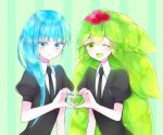 2others androgynous asymmetrical_hair bangs blue_eyes blue_hair blunt_bangs colored_eyelashes crystal_hair eyebrows_visible_through_hair gem_uniform_(houseki_no_kuni) green_background green_eyes green_hair heart hemimorphite_(houseki_no_kuni) highres houseki_no_kuni long_hair looking_at_viewer multicolored_hair multiple_others necktie one_eye_closed open_mouth pink_hair smile upper_body watermelon_tourmaline_(houseki_no_kuni)