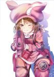 1girl ;) aiming_at_viewer animal_ears animal_hat bandanna bangs blush brown_eyes brown_hair bullpup bunny_hat closed_mouth eyebrows_visible_through_hair gloves gun hair_between_eyes hat highres holding holding_gun holding_weapon jacket kneeling llenn_(sao) long_sleeves mutang one_eye_closed p-chan_(p-90) p90 pants pink_gloves pink_hat pink_jacket pink_pants rabbit_ears shadow smile solo submachine_gun sword_art_online sword_art_online_alternative:_gun_gale_online weapon white_background white_bandana