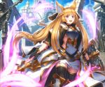 1girl :d bangs black_choker black_gloves black_legwear blonde_hair blue_sky blurry braid breastplate breasts building choker coat day depth_of_field erune eyebrows_visible_through_hair faulds floating_hair french_braid gloves glowing glowing_sword glowing_weapon granblue_fantasy greaves hair_ornament high_collar highres holding holding_shield holding_sword holding_weapon kaina_(tsubasakuronikuru) long_hair looking_at_viewer open_clothes open_coat open_mouth outdoors pillar shield shiny shiny_hair sideboob sidelocks sky smile solo standing statue sword thigh-highs upper_teeth very_long_hair violet_eyes weapon white_coat yuisis_(granblue_fantasy)