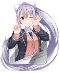 1girl ;d arm_up bangs black_jacket blazer blue_neckwear blush bow brown_cardigan cardigan collared_shirt congratulations dress_shirt eyebrows_visible_through_hair fingernails hair_between_eyes hair_bow hair_ornament hairclip hand_up high_ponytail higuchi_kaede index_finger_raised jacket long_hair long_sleeves mole mole_under_eye necktie nijisanji ok_sign one_eye_closed open_blazer open_clothes open_jacket open_mouth ponytail school_uniform shirt sidelocks silver_hair simple_background smile solo very_long_hair violet_eyes virtual_youtuber white_background white_bow white_shirt yuuri_nayuta