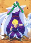 2boys antennae bald cloak dougi dragon_ball dragonball_z dust electricity glowing green_eyes green_skin highres looking_at_viewer male_focus multiple_boys muscle piccolo pointy_ears rock serious son_gohan spiky_hair super_saiyan tovio_rogers turban wristband