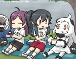 3girls :d ^_^ ahoge black_hair casual closed_eyes commentary_request dated destroyer_water_oni eating escort_fortress_(kantai_collection) food food_on_face gym_shorts gym_uniform hagikaze_(kantai_collection) hamu_koutarou handkerchief horns kantai_collection long_hair mittens multiple_girls northern_ocean_hime obentou one_side_up open_mouth orange_eyes ponytail purple_hair rain red_eyes rice rice_on_face shinkaisei-kan shorts smile thought_bubble translation_request tree white_hair white_skin yahagi_(kantai_collection)