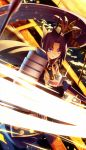 1girl armor arrow bangs battoujutsu_stance black_hair black_hat blue_eyes blue_gloves breasts eyebrows_visible_through_hair eyeliner fate/grand_order fate_(series) fighting_stance floating_hair from_above gloves glowing glowing_sword glowing_weapon hair_ornament hat high_collar highres japanese_armor kaina_(tsubasakuronikuru) katana kusazuri light_trail long_hair long_sleeves looking_at_viewer makeup motion_blur outdoors parted_bangs parted_lips planted_arrow scabbard sheath shoulder_armor side_ponytail small_breasts sode solo sparks standing sword tsurime under_boob unsheathing ushiwakamaru_(fate/grand_order) very_long_hair water weapon