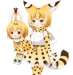 1girl :d absurdres animal_ears bangs blonde_hair blush boots bow bowtie breasts brown_eyes character_doll chestnut_mouth commentary_request cowboy_shot doll elbow_gloves extra_ears extra_serval_(kemono_friends) eyebrows_visible_through_hair gloves gradient_hair hair_between_eyes high-waist_skirt highres holding holding_doll kemono_friends multicolored_hair open_mouth print_gloves print_legwear print_neckwear print_skirt serval_(kemono_friends) serval_ears serval_print serval_tail shin01571 shirt simple_background skirt sleeveless sleeveless_shirt small_breasts smile solo striped_tail tail thigh-highs white_background white_footwear white_hair white_shirt