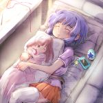 1girl bed blue_hair cellphone charm_(object) closed_eyes commentary_request dakimakura_(object) jewelpet_(series) jewelpet_twinkle no_hairband orange_skirt phone pillow pillow_hug pink_shirt sakura_akari sapphie_(jewelpet) sara_(jewelpet_twinkle) shimetta_seiya shirt short_hair skirt sleeping smartphone thigh-highs white_legwear