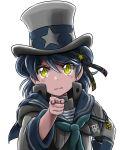 1girl admiral_paru aqua_neckwear black_ribbon blue_hair blue_sailor_collar cosplay double_bun hand_on_hip hat hat_ribbon highres kantai_collection long_sleeves looking_at_viewer namesake neckerchief pointing ribbon sailor_collar samuel_b._roberts_(kantai_collection) school_uniform serafuku shirt short_hair simple_background sleeve_cuffs solo top_hat twitter_username uncle_sam uncle_sam_(cosplay) white_background white_shirt yellow_eyes