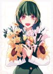 1girl :d absurdres bouquet brown_eyes flower green_hair hairband highres idolmaster looking_at_viewer mole mole_under_mouth open_mouth otonashi_kotori short_hair smile solo sunflower xingjinmeijian yellow_hairband
