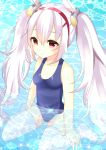 1girl animal_ears azur_lane bangs bare_arms bare_shoulders blue_swimsuit blush collarbone commentary_request day eyebrows_visible_through_hair hair_between_eyes hair_ornament hairband laffey_(azur_lane) long_hair misaki_(misaki86) no_shoes old_school_swimsuit one-piece_swimsuit outdoors parted_lips partially_submerged rabbit_ears red_eyes red_hairband school_swimsuit silver_hair sitting solo sparkle swimsuit thigh-highs twintails very_long_hair wariza water white_legwear