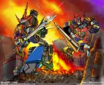 80s city crossover daijuujin destruction electricity epic explosion full_body glowing glowing_eyes golion_(mecha) holding holding_sword holding_weapon hyakujuu-ou_golion kyouryuu_sentai_zyuranger lion mecha megazord no_humans oldschool power_rangers robot rockmanzallz science_fiction super_robot super_sentai sword traditional_media voltron:_legendary_defender voltron_(mecha) weapon