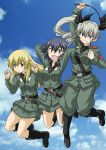 3girls :d anchovy anzio_military_uniform arm_up arms_behind_head bangs belt black_belt black_hair black_ribbon black_shirt blonde_hair boots braid brown_eyes carpaccio clenched_hand closed_mouth clouds cloudy_sky commentary_request day dress_shirt drill_hair eyebrows_visible_through_hair girls_und_panzer green_eyes green_hair grey_jacket grey_pants grey_skirt grin hair_ribbon holding jacket jumping knee_boots knife light_smile long_hair long_sleeves military military_uniform muichimon multiple_girls necktie open_mouth pants pepperoni_(girls_und_panzer) red_eyes ribbon riding_crop sam_browne_belt shirt short_hair side_braid skirt sky smile twin_drills twintails uniform v-shaped_eyebrows w_arms watermark