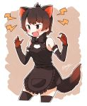 1girl absurdres animal_ears apron bare_shoulders black_hair blush bow bowtie claw_pose cowboy_shot detached_sleeves dress enk_0822 eyebrows_visible_through_hair fang gloves highres kemono_friends short_hair sleeveless sleeveless_dress solo tasmanian_devil_(kemono_friends) tasmanian_devil_ears tasmanian_devil_tail thigh-highs