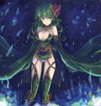 1girl breasts bridal_gauntlets cleavage commentary_request detached_sleeves dress final_fantasy final_fantasy_iv green_dress green_eyes green_hair green_legwear kara_(color) rydia solo