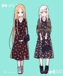 2girls abigail_williams_(fate/grand_order) alternate_costume bag bangs black_footwear black_jacket blonde_hair blue_eyes brown_dress dress eyebrows_visible_through_hair fate/grand_order fate_(series) floral_print forehead green_background handbag holding holding_bag horn jacket lavinia_whateley_(fate/grand_order) long_hair long_sleeves multiple_girls open_clothes open_jacket parted_bangs print_dress puffy_long_sleeves puffy_sleeves red_eyes shoes shoulder_bag silver_hair sofra standing twitter_username very_long_hair white_footwear