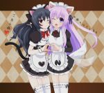 2girls ;d alternate_costume animal_ears apron argyle argyle_background black_dress black_hair blush cat_ears cat_tail commentary commentary_request cowboy_shot dress enmaided garter_straps hair_between_eyes head_to_head heart heart_hands long_hair long_sleeves looking_at_viewer maid maid_headdress multiple_girls nepgear neptune_(series) one_eye_closed open_mouth puffy_short_sleeves puffy_sleeves purple_hair red_eyes short_sleeves smile tail thigh-highs translated uni_(choujigen_game_neptune) very_long_hair violet_eyes waruga white_apron white_legwear