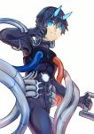 1boy absurdres bangs black_bodysuit black_gloves black_hair blue_eyes blue_horns bodysuit commentary_request darling_in_the_franxx eyebrows_visible_through_hair gloves highres hiro_(darling_in_the_franxx) holding horns looking_at_viewer male_focus oni_horns pilot_suit redfish short_hair solo tube