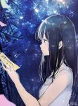1girl bangs bare_arms bare_shoulders black_hair blurry blurry_foreground breasts closed_mouth commentary depth_of_field eyebrows_visible_through_hair green_eyes highres long_hair looking_away night night_sky original profile shirt signature sky sleeveless sleeveless_shirt small_breasts sofra solo star_(sky) starry_sky tanabata tanzaku translated very_long_hair white_shirt