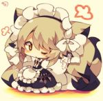 1girl blonde_hair blush chibi commentary_request crying crying_with_eyes_open fork full_body knife looking_at_viewer maid maid_headdress muuran one_eye_closed original solo spoon standing tears translation_request v_arms yellow_eyes