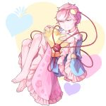 1girl barefoot checkered commentary eyebrows_visible_through_hair fetal_position floral_print frills full_body hairband heart heart_background heart_pillow highres holding holding_pillow jitome komeiji_satori long_sleeves looking_at_viewer mefomefo pillow pink_eyes pink_hair short_hair skirt solo string third_eye touhou wide_sleeves