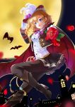 1girl blonde_hair blue_eyes boots breasts cape earrings eyebrows_visible_through_hair fangs flower full_moon gloves hat high_heel_boots high_heels jewelry knee_boots kousaka_honoka love_live! love_live!_school_idol_festival love_live!_school_idol_project medium_breasts moon pants pants_under_skirt petals rose short_hair skirt solo swimsuit white_gloves yumeiro_hanabi