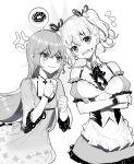 2girls anger_vein apron bangs blush bow breasts clenched_teeth crossed_arms detached_collar doughnut dress eyebrows_visible_through_hair flying_sweatdrops food food_on_face frilled_apron frills greyscale hair_between_eyes hair_ribbon hands_up long_hair medium_breasts monochrome multiple_girls nose_blush open_mouth original puffy_short_sleeves puffy_sleeves ribbon ririko_(zhuoyandesailaer) short_hair short_sleeves sleeveless sleeveless_dress spoken_food teeth twintails v-shaped_eyebrows very_long_hair waist_apron wide_sleeves