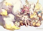 1girl animal bangs barefoot closed_eyes cotton_(p&d) dragon dress drill_hair hat hug long_hair monster multiple_tails open_mouth pink_hair puzzle_&_dragons short_sleeves smile tail tennohi wings
