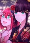 2girls aiwairanai aqua_eyes black_hair commentary fireworks japanese_clothes kimono kurosawa_dia kurosawa_ruby love_live! love_live!_sunshine!! multiple_girls redhead siblings sisters yukata