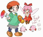 2girls adeleine batamon beret black_eyes black_hair blue_eyes english fairy flying grey_skirt grin hat kirby kirby:_star_allies kirby_(series) kirby_64 looking_at_viewer loose_socks multiple_girls paintbrush palette pink_hair pointing pointing_at_viewer ribbon_(kirby) running simple_background skirt smile smock socks thank_you white_background