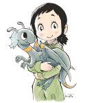 1girl amakasu_hisone black_hair blush_stickers dragon hisone_to_masotan holding jumpsuit kiichi masotan short_ponytail smile white_background younger