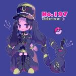 1girl black_eyes black_footwear black_hair black_hat boots bracelet character_name closed_mouth crescent_moon detached_sleeves earrings full_body gen_2_pokemon hat highres jewelry long_hair looking_at_each_other mameeekueya moemon moon personification poke_ball pokemon pokemon_(creature) pokemon_number puffy_short_sleeves puffy_sleeves short_sleeves shorts sidelocks star twintails umbreon violet_background