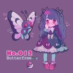 1girl adjusting_eyewear antennae bangs black_dress bow bug butterfly butterfly_wings butterfree character_name dress full_body gen_1_pokemon glasses insect juliet_sleeves lavender_background long_hair long_sleeves looking_at_viewer mameeekueya moemon personification poke_ball pokemon pokemon_(creature) puffy_sleeves red_eyes red_footwear shoes simple_background very_long_hair wings