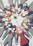 5boys 5girls absurdres ahoge bangs black_hair black_legwear blonde_hair blue_eyes blue_hair blue_hairband brown_eyes brown_hair closed_eyes commentary_request couple darling_in_the_franxx fangs flower futoshi_(darling_in_the_franxx) glasses gorou_(darling_in_the_franxx) green_eyes hair_ornament hairband hairclip hand_holding hetero high_ponytail highres hiro_(darling_in_the_franxx) horns ichigo_(darling_in_the_franxx) ikuno_(darling_in_the_franxx) interlocked_fingers kokoro_(darling_in_the_franxx) light_brown_hair long_hair long_sleeves looking_at_another lying miku_(darling_in_the_franxx) military military_uniform mitsuru_(darling_in_the_franxx) multiple_boys multiple_girls necktie on_back oni_horns orange_neckwear pantyhose petals pink_hair ponytail purple_hair red_horns red_neckwear redhead ryochindempa short_hair thick_eyebrows twintails uniform white_hairband white_hairclip yellow_eyes zero_two_(darling_in_the_franxx) zorome_(darling_in_the_franxx)