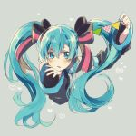 1girl absurdres blue_eyes blue_hair blue_nails blush detached_sleeves eyelashes fingernails floating_hair graphite_(medium) grey_background hair_ribbon hand_on_own_chin hatsune_miku heart highres long_hair nail_polish ribbon shaded_face simple_background solo_focus traditional_media twintails upper_body vocaloid yuya_kyoro
