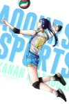 1girl absurdres angerykacchan artist_name background_text black_footwear black_hair blue_eyes elbow_pads english highres jumping knee_pads love_live! love_live!_sunshine!! matsuura_kanan shoes spiking sportswear twitter_username volleyball volleyball_uniform white_background white_legwear