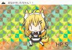 >:) 1girl ahoge animal_ears apron arm_up bangs black_dress black_footwear blonde_hair blush_stickers closed_mouth dog_ears dog_girl dog_tail dress eyebrows_visible_through_hair hair_between_eyes hair_ornament hairclip hand_on_hip long_hair looking_at_viewer original puffy_short_sleeves puffy_sleeves rinechun rinechun's_blonde_dog_girl short_sleeves smile solo tail thigh-highs translation_request v v-shaped_eyebrows waist_apron white_apron white_legwear |_|