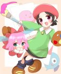 2girls :d adeleine bangs black_hair black_legwear blue_eyes blue_wings blush brown_footwear canvas_(object) collared_shirt commentary_request covering_mouth dress eyebrows_visible_through_hair fairy fairy_wings flying_sweatdrops green_shirt hair_between_eyes hat highres holding holding_paintbrush hoshi_no_kirby hoshi_no_kirby_64 kirby_(series) kirby_64 long_sleeves looking_at_viewer multiple_girls non_(wednesday-classic) open_mouth paintbrush parted_bangs pink_hair red_dress red_hat ribbon_(kirby) shirt shoes smile socks standing standing_on_one_leg transparent_wings wings